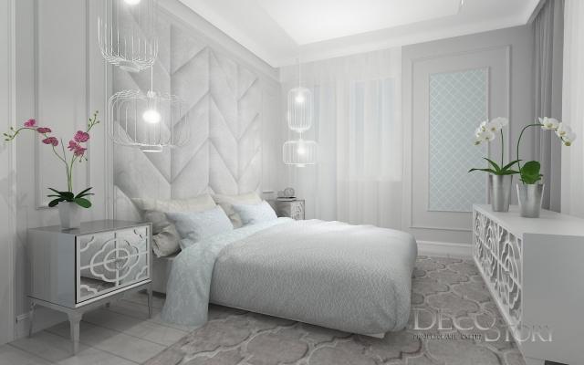 Elegancka sypialnia skandynawska kończyna marokańska biała podłoga w sypialni lampy wiszące w sypial