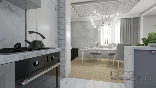 Klasyczna kuchnia w bieli i szarosci