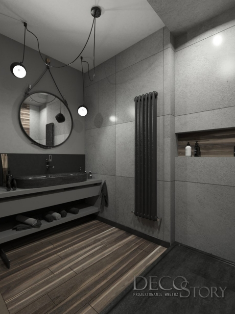 łazienka w betonie, beton w łazience , okrągłe lustro w łazience, projektowanie wnętrz Piastów, proj