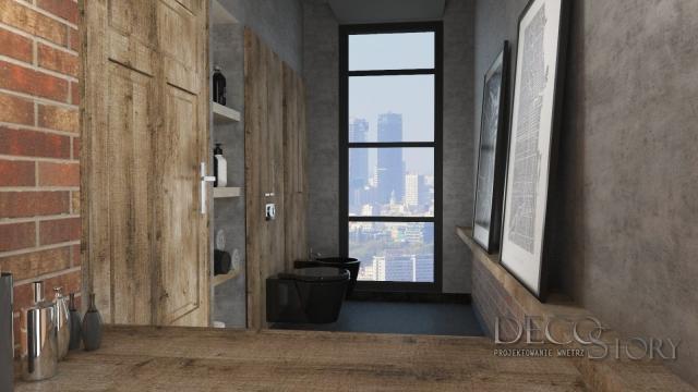 toaleta czarna ceramika sanitarna loft cegła